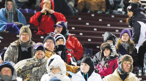 Panthers fans suit up for the cold in Bowie, Texas after game time and location change. Photo courtesy of Tammy Wendel
