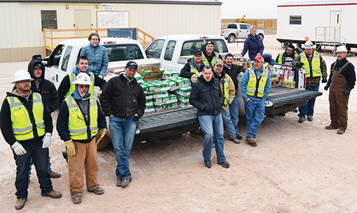 Employees of Mortenson Construction and its subcontractors, RRC, HCI, Element, Trench Tech and customer Pattern Energy made a donation of 1,350 pounds of food and $675 in monetary donations to the local Love In Action Food Bank of Panhandle as well as equal donations to the White Deer-Skellytown Lighthouse Food Pantry.