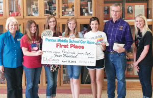 Winning team, left to right, Pantex Race Coordinator Debra Halliday, Ali Gustafson, Katelyn Lacy, Mary Cowan, Kaylee Brassfield, Mr. Meyer, Education Credit Union representative.