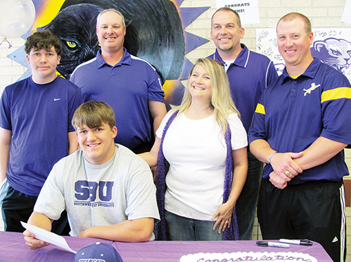 State Shot Put Bronze Medalist Luke Amos signed with Southwest Baptist University in Bolivar, Mo. and will be a member of its Track & Field Team next week.  Amos will be throwing the shot put, hammer and discus for the SBU Bearcats.  To read more about the Southwest Baptist Bearcats go to www.sbubearcats.com.
