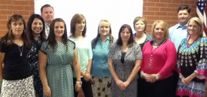 Left to right: Terri Wilson- fifth grade; Natalie Johnson- Junior High Reading; Travis Miller-AG; Brooke Owens- Coach PE; Kelsey Doke- Paraprofessional; Kerrie Ream- Paraprofessional; Robin Tucker- fourth grade; Rhonda Roberts- fifth grade; Mendy Boyd- second grade; Rob Groves-High School History and Coach and Kyla Bell- fourth grade.