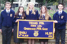Another banner for the wall is proudly displayed by the Panhandle Greenhand FFA Quiz team, left to right, Brennon Freeman, Kaylee Brassfield, Grace Kuehler, Taylor Wood and Noah Ford.