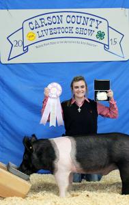 Jordan Pohnert won Reserve Champion Pig.