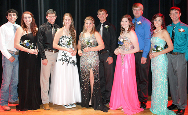 Mr. and Miss WDHS Candidates (l to r): Luis Chavez, Courtney Barrow, Andrew Bichsel, Cassidy Crutchfield, Karlee Vigil, Clayton Pipes, Meghan Collier, Cuyler McAnally, Macey Hendrick and Taylor Patterson.