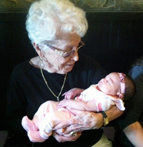 Ellinor Grace and Great-great-grandmother, Mozelle Urbanczyk