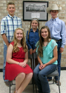 Pictured are the 2015-2016 Officers, sitting ― left to right, Acacia Barker, Vice President and Ashby Dauer, President; standing ― left to right, Baylee Ogletree, Secretary, Whitney Kennedy, Reporter and Jared Dauer, Second Vice President.